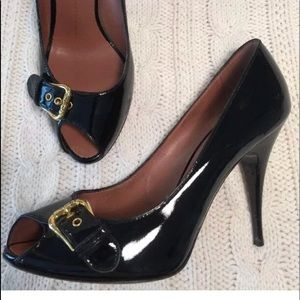 Giuseppe Zanotti Black Patent Leather Peep Toe 8.5